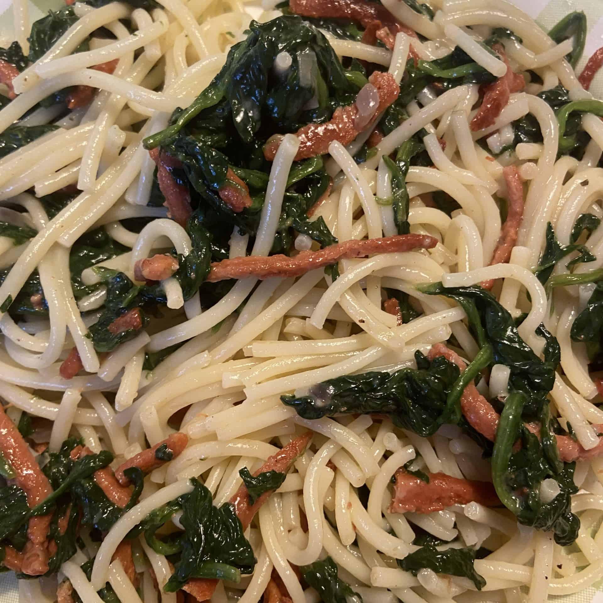 Spinat mit Spaghetti